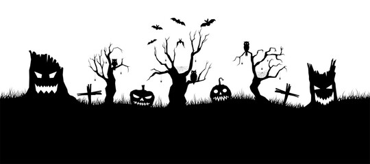 Obraz Happy Halloween banner on white background. Halloween concept for greeting cards. Composition of silhouettes. Vector illustration. - fototapety do salonu