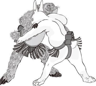 浮世絵 猿と兎の相撲 その1