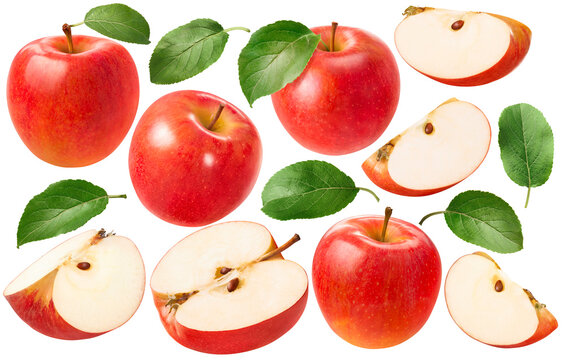 Big red apples set isolated on white background. Whole and pieces. Package design elements with clipping path