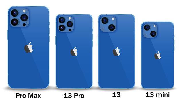Set of new Apple iPhone 13 Blue.Realistic mockup screen smarthone of iPhone 13 Mini, 13 Pro,13 Pro Max isolated on white background.Vinnytsia,Ukraine-September 16,2021