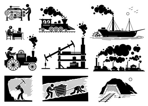 Modern History Industrial Age or Industrial Revolution Technology Development. Vector illustrations of steam engine, coal mining, power loom machine, radio broadcasting, and factory smoke.