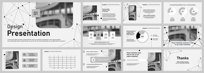Fototapeta  Set of vector slides for presentations and reports. Poster flyer pamphlet brochure, portfolio, design annual report, vector template, leaflet. Minimalistic design background  obraz