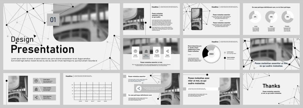 Set of vector slides for presentations and reports. Poster flyer pamphlet brochure, portfolio, design annual report, vector template, leaflet. Minimalistic design background