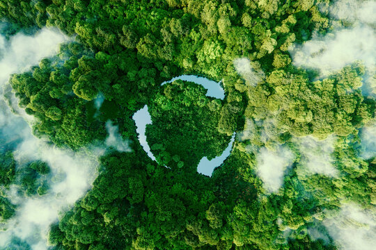 Abstract icon representing the ecological call to recycle and reuse in the form of a pond with a recycling symbol in the middle of a beautiful untouched jungle. 3d rendering.
