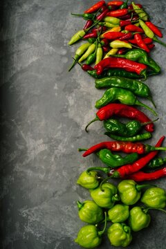 Different types of homegrown chillies or chilli peppers background, selective focus