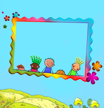 Funny baby pictures, coloring pages, color album, summer, frames