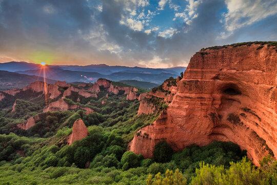 panoramic view of las medulas sandstone mountains, Spain