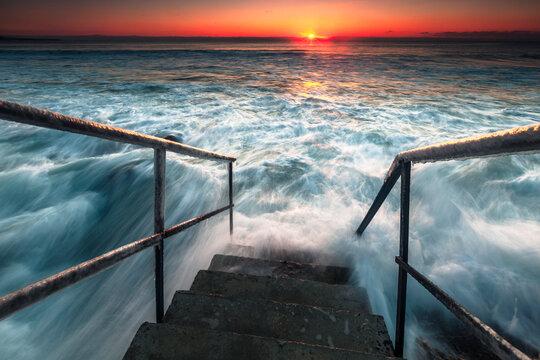 Stairways to the Hell - Winter sunrise by Ravda seaside