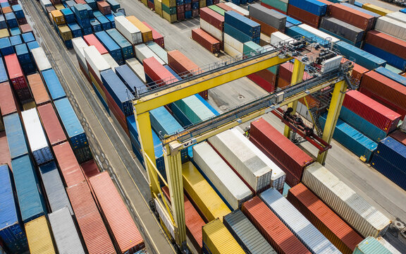 Aerial view of container terminal with colorful containers