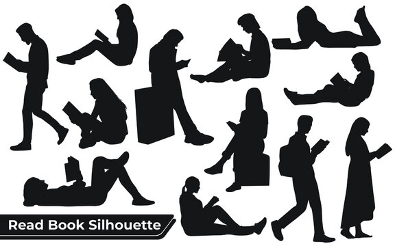 Collection of read book silhouettes in different poses