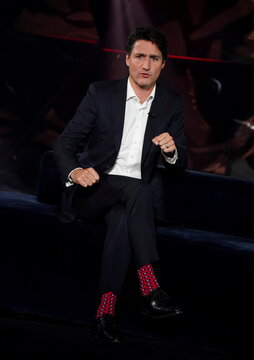 Canada's Liberal Prime Minister Justin Trudeau takes part in the TV show 'La Semaine des 4 Julie' in Varennes
