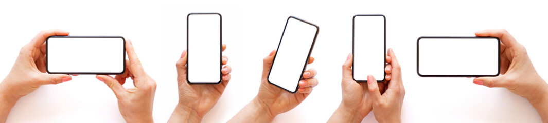 Fototapeta Set of different photos of mobile phone in hand, isolated on white background obraz