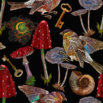 Embroidery birds, moon, golden keys and mushrooms seamless pattern. Fashion fairy tale template for clothes, textiles, t-shirt design. Autumn forest art