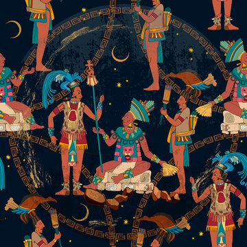 Maya background. Historical art. Ancient Mayan. Seamless pattern. Mural painting art. Old frescos style. Aztec and Inca people. Pyramid and tribe