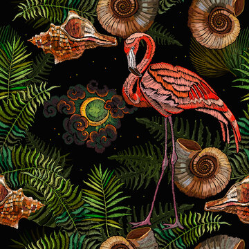 Embroidery pink flamingo, night sky and tropical palm leaves seamless pattern. Summer jungle art. Fashion template for clothes, textiles, t-shirt design