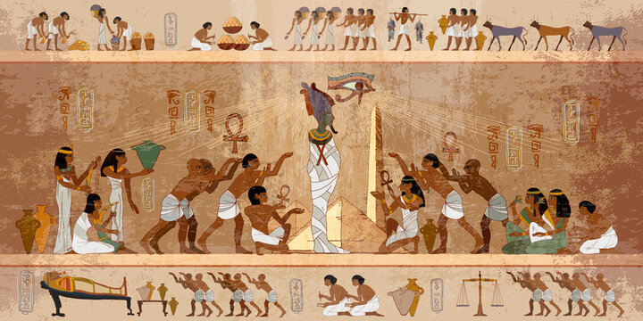 Ancient Egypt frescoes. Life of egyptians. History art. Agriculture, workmanship, fishery, farm. Hieroglyphic carvings on exterior walls of an old temple