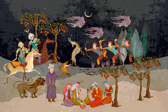 Fairy tales and legends of the Middle East. Paradise garden. Ottoman Empire book miniature. Persian frescoes. Medieval miniature. Mughal art. Ancient civilization murals