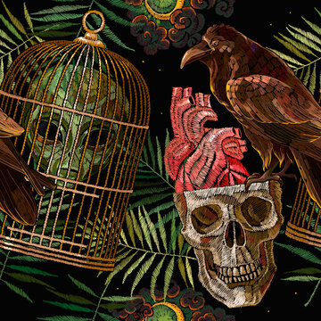 Occult and esoteric background. Black magic illustration. Alchemy seamless pattern. Embroidery. Alien head, skull, golden cage, fern, raven bird and anatomical heart. Gothic template for clothes