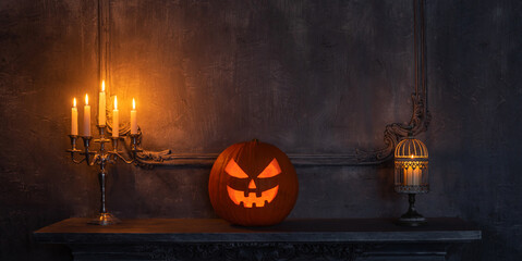 Scary laughing pumpkin and old skull on ancient gothic fireplace. Halloween, witchcraft and magic.