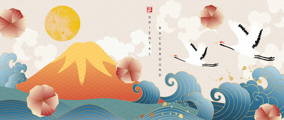 Oriental style background vector. Chinese and Japanese oriental line art with golden line art texture. Wallpaper design with Mount Fuji , sun, Flamingo, Ocean and wave.