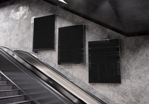 Three vertical billboards on underground wall Mockup. Hoardings advertising triptych on subway wall 3D rendering
