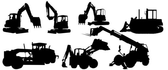 Fototapeta Backhoe excavator Logo element vector set. Excavator heavy equipment silhouette vector for construction company. obraz