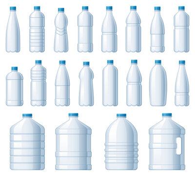 Plastic bottles. Water cooler bottle, PET package for liquids and soda drink beverage vector illustration set