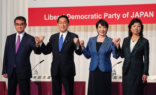Contenders for the presidential election of the ruling Liberal Democratic Party (LDP) hold a joint news conference in Tokyo