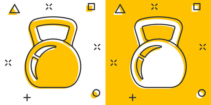 Kettlebell icon in comic style. Barbell sport equipment cartoon vector illustration on white isolated background. Dumbbell splash effect business concept.