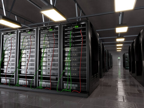 Server room with supercomputer