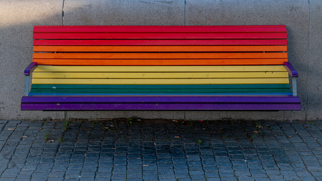 Rainbow Painted Bench