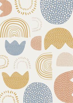 Natural patterned doodle background vector
