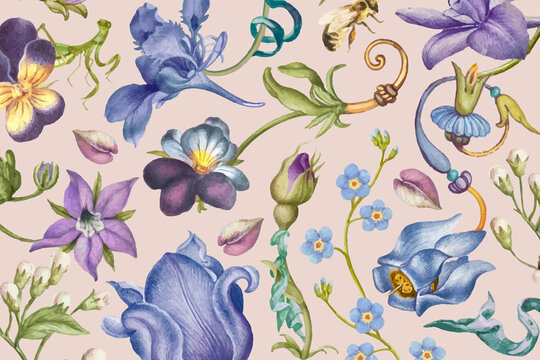 Aesthetic purple floral pattern vector on pink background, remixed from artworks by Pierre-Joseph Redouté