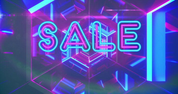 Image of sale neon text over neon pink and blue tunnel in background