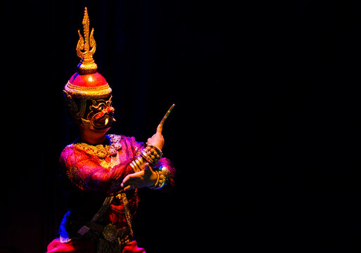 lakhon khol khmer masked dance performer in costume in cambodia