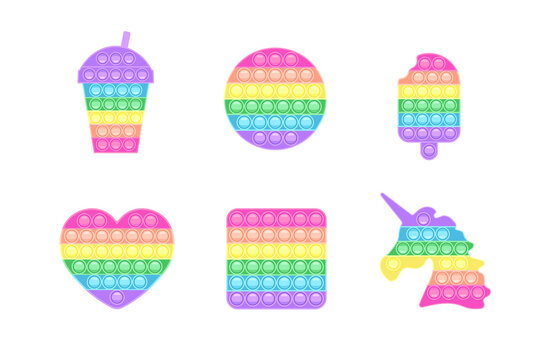 Collection shape pop-it in pastel colors. Trendy anti-stress game. Hand toy with push bubbles in rainbow colors. Vector illustration isolated on white background.