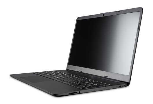 modern open black mobile laptop notebook computer  with copy space blank screen isolated white background.  business smart technology concept