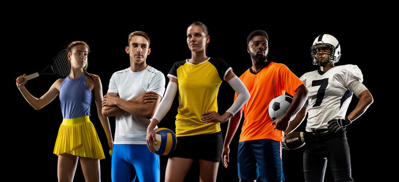 Sport art collage. Tennis, volleyball, basketball, soccer and american football players posing like one multiethnic team isolated on dark studio background.