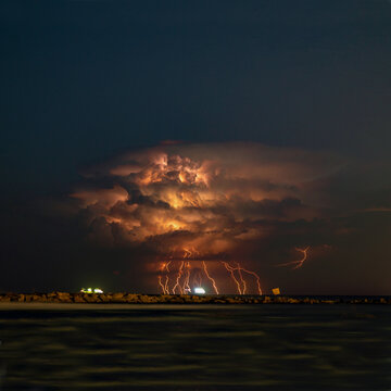 lightning over the horizon in Larnaca, Cyprus