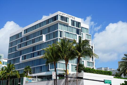 MIAMI BEACH, FL -27 APR 2021- View of the Hyatt Centric South Beach Miami hotel located on Collins Avenue in Miami. Hyatt Centric is a brand owned by Hyatt Hotels.