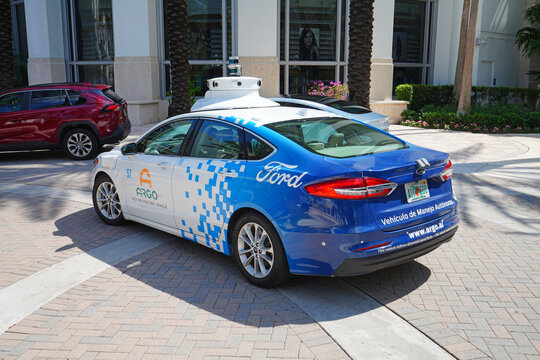 MIAMI BEACH, FL -23 APR 2021- View of an Argo self-driving test vehicle from Ford on the street in South Beach, Miami, the capital of Art Deco in the United States.
