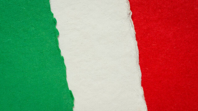 paper abstract in colors of national flag of Italy (green, white and red), collection of handmade rag paper sheets