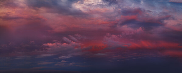 Pink and Purple Dramatic Sky With Clouds at Sunset, Panoramic Nature Background