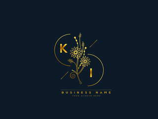 Obraz Luxury KI logo, feminine floral ki k i letter logo icon design for your brand or business - fototapety do salonu