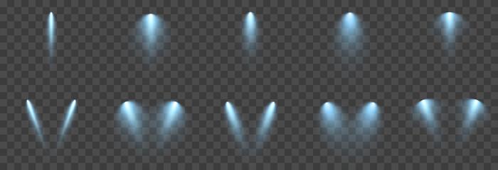 Vector set of light. Light source, studio lighting, walls, png. Blue light. Spot lighting, spotlight PNG. Rays, light effect.
