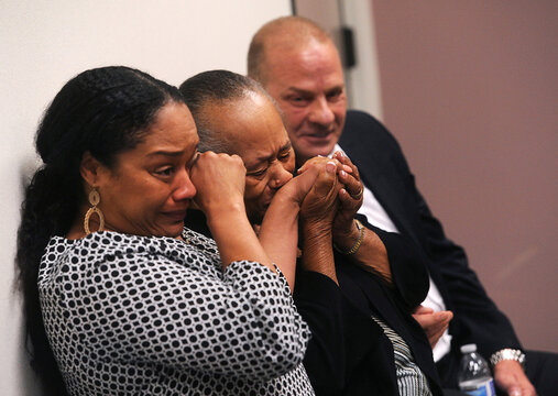 O.J. Simpson's sister Shirley Baker, daughter ArNelle Simpson and friend Tom Scotto react during Simpson's parole hearing at Lovelock Correctional Center in Lovelock