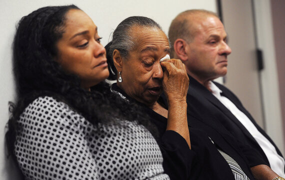 O.J. Simpson's sister Shirley Baker, daughter Arnelle Simpson and friend Tom Scotto react during Simpson's parole hearing at Lovelock Correctional Centre in Lovelock