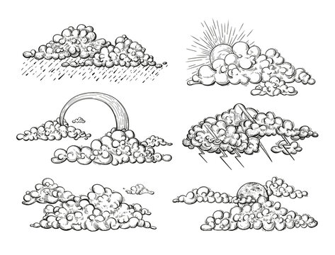 Vector weather elements in sketch style. Illustrations in engraved style different clouds, thunderstorm, rainbow, sun, zippers, raining.