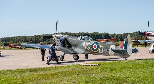 Gothenburg, Sweden - August 30 2008: Supermarine Spitfire Mk XVI SE-BIR at Göteborg Aero Show