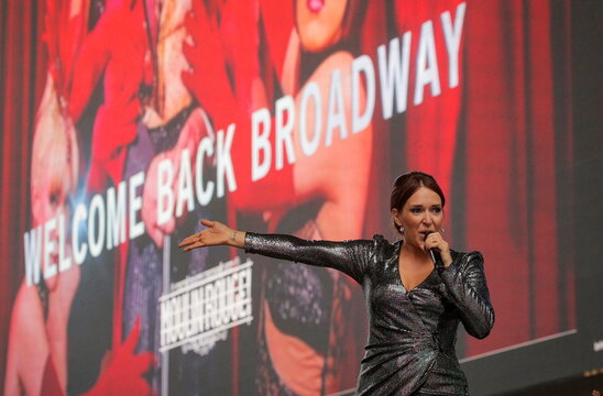 Actor Jessica Vosk performs during the Broadway League's the 'Curtain Up! Broadway is Back' Kick-Off event in Times Square in New York